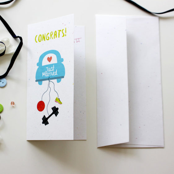 Wedding congratulations card for a basketball and gym lover