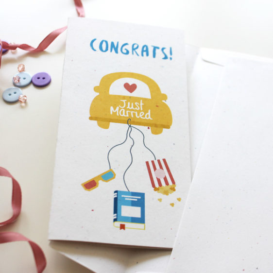 Movie & books lover congratulation card with envelope