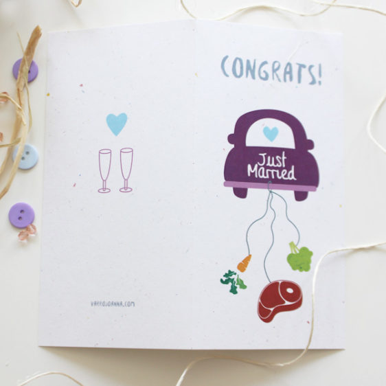 Wedding congratulations card for a vegetarian and a meet lover