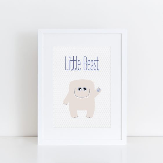 Cute Newborn Baby Nursery Poster for Boy
