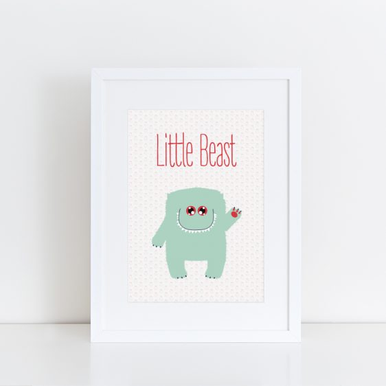 Cute Newborn Baby Nursery Poster for Girl