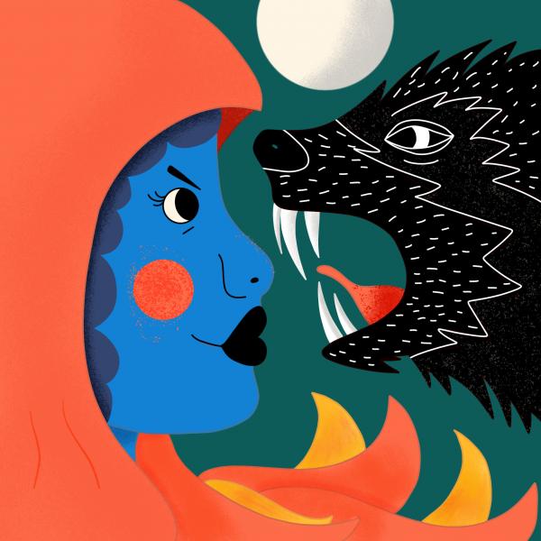 Daring Red Riding Hood Illustration