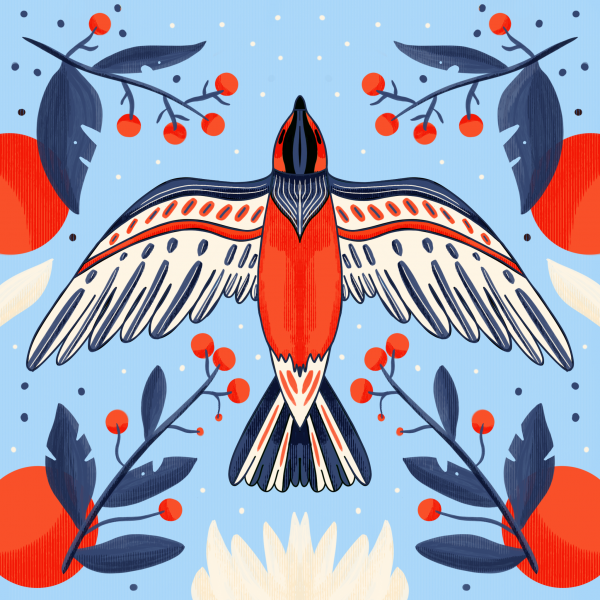 Folk Bird Illustration