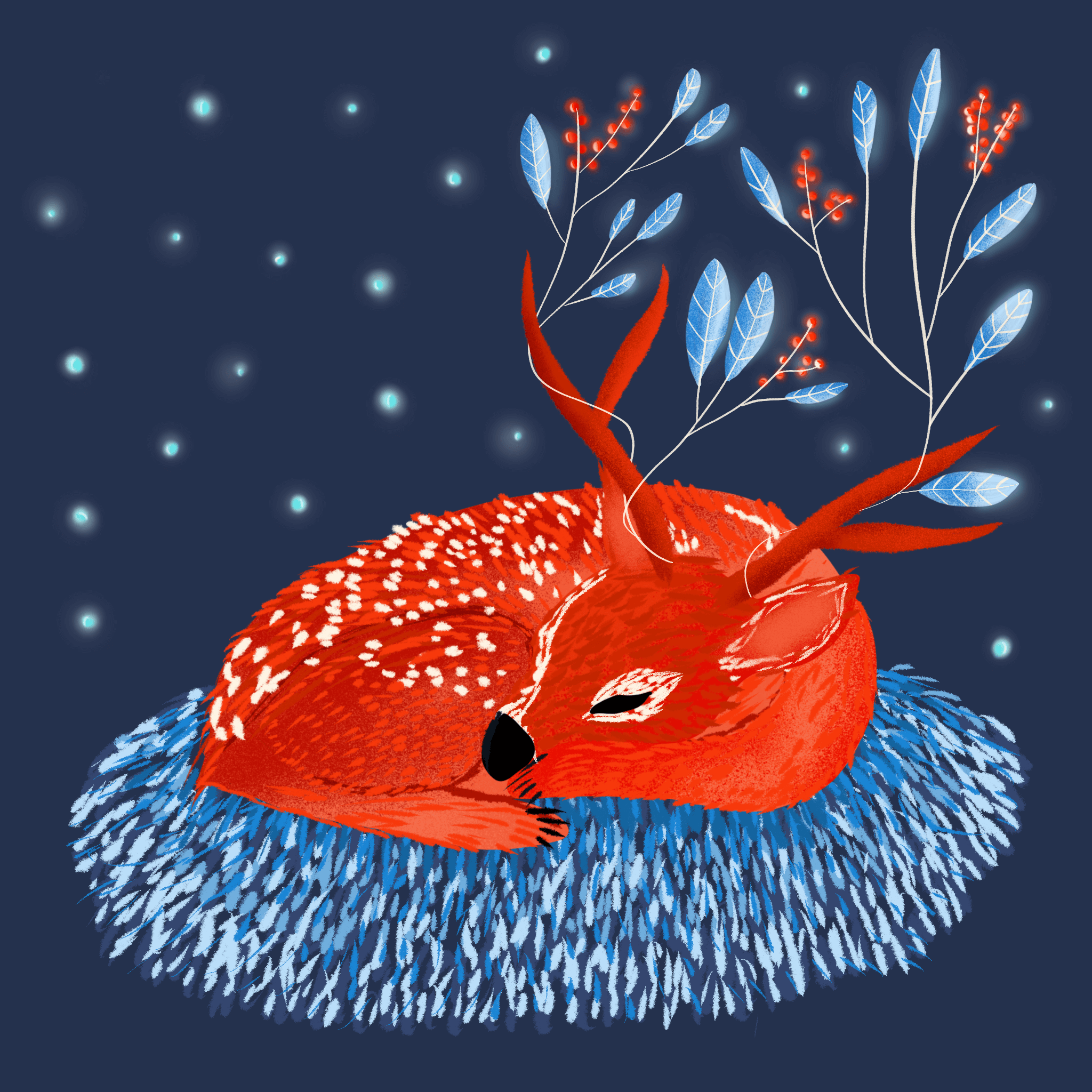 Christmas Deer Digital Illustration