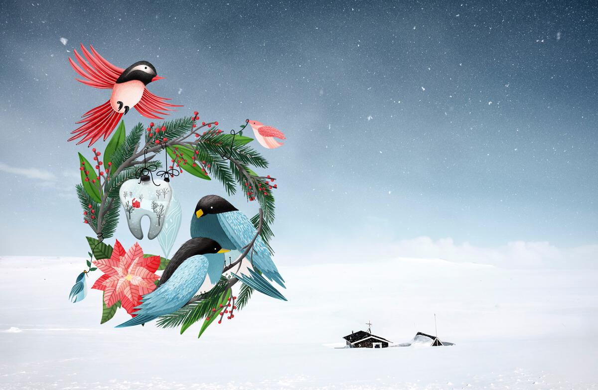 Christmas Wreath Digital Illustration