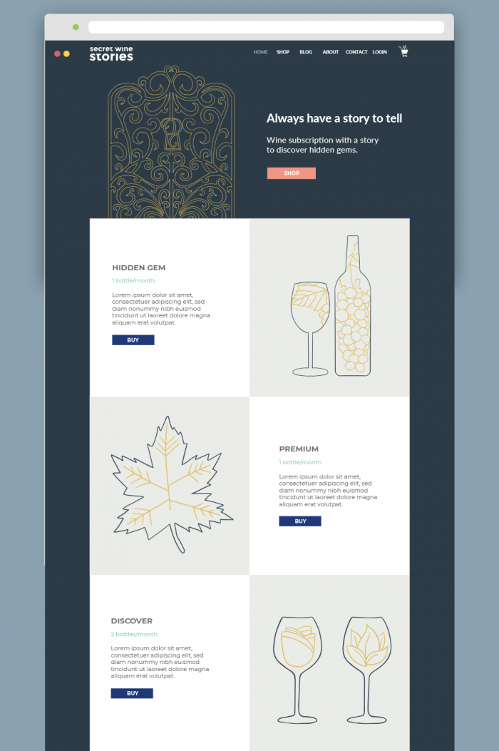 Secret Wine Stories Website Design