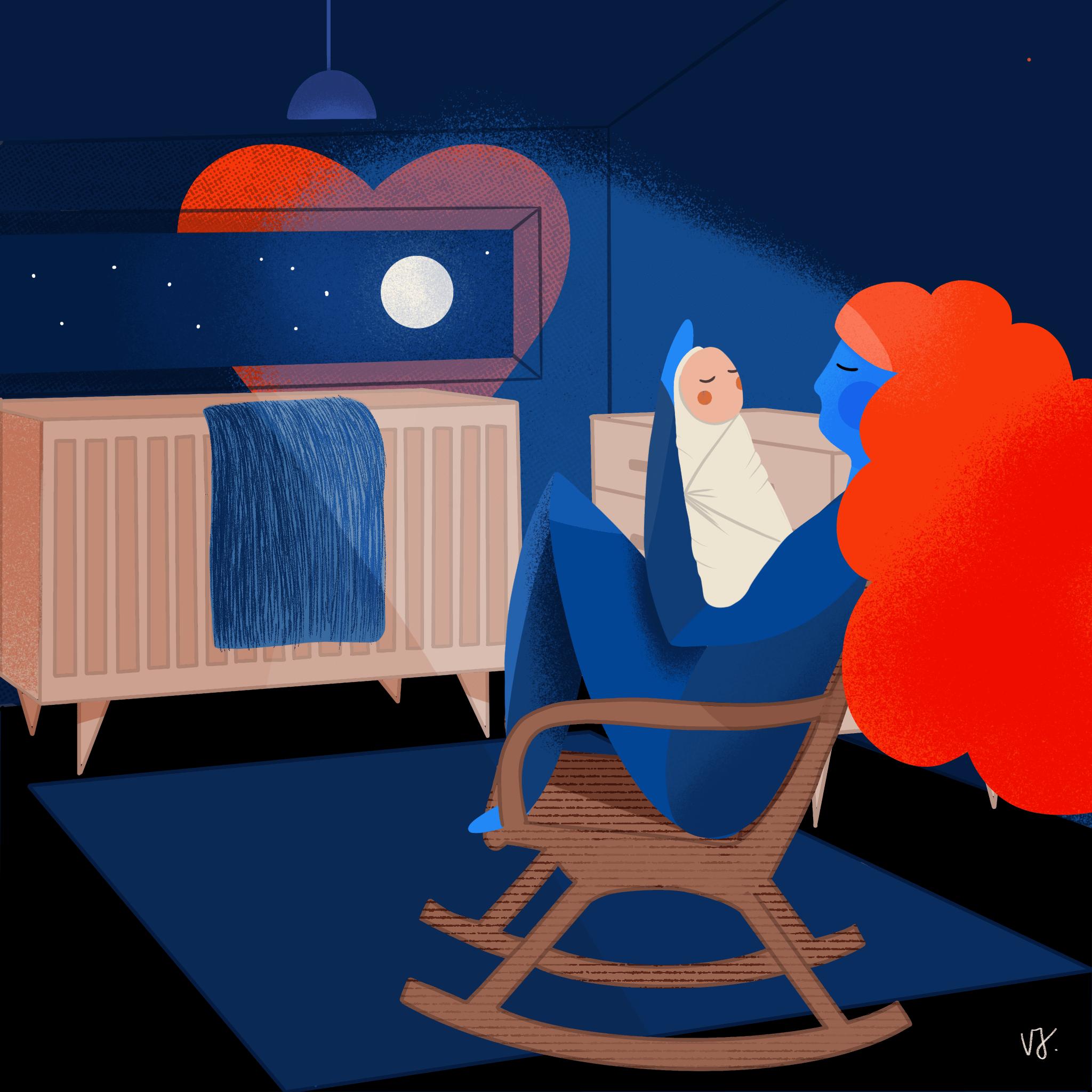 Postpartum Depression Illustration