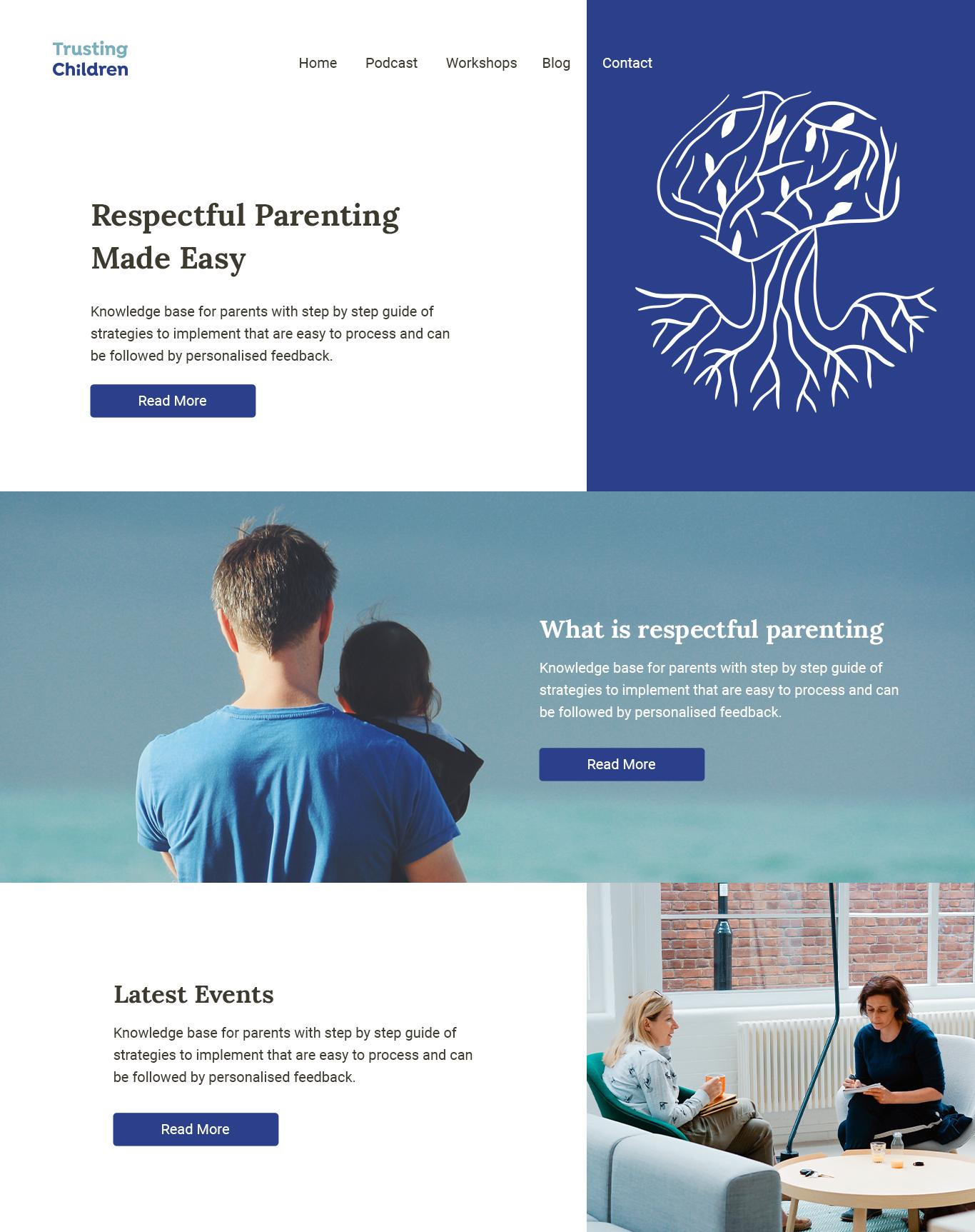 Trusting Children Website Design